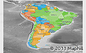 Political Panoramic Map of South America, desaturated