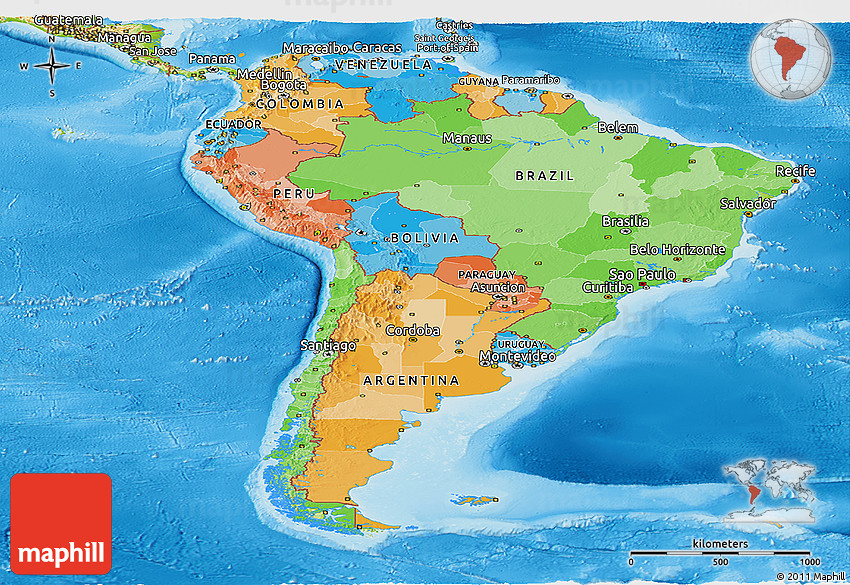 Political Panoramic Map Of South America Physical Outside: South America Physical And Political Map Quiz At Usa Maps