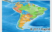 Political Panoramic Map of South America, political shades outside