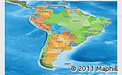 Political Panoramic Map of South America, satellite outside, bathymetry sea
