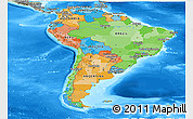 Political Panoramic Map of South America, semi-desaturated, land only