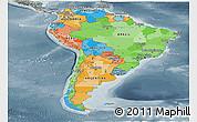 Political Panoramic Map of South America, semi-desaturated
