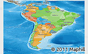 Political Panoramic Map of South America, shaded relief outside, bathymetry sea