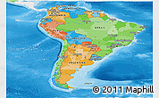 Political Panoramic Map of South America, single color outside