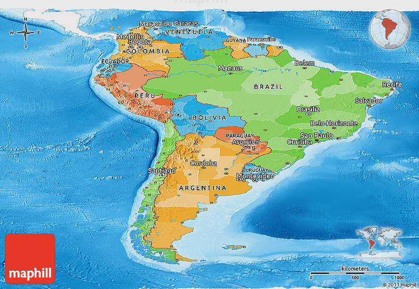 Political panoramic map of south america single color for What color is south america