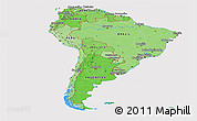 Political Shades Panoramic Map of South America, cropped outside