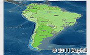 Political Shades Panoramic Map of South America, darken