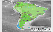 Political Shades Panoramic Map of South America, desaturated