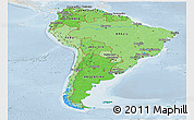 Political Shades Panoramic Map of South America, lighten