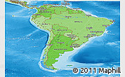 Political Shades Panoramic Map of South America, physical outside