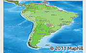 Political Shades Panoramic Map of South America, satellite outside, bathymetry sea