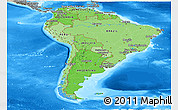Political Shades Panoramic Map of South America, semi-desaturated, land only