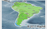 Political Shades Panoramic Map of South America, semi-desaturated