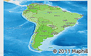 Political Shades Panoramic Map of South America, single color outside