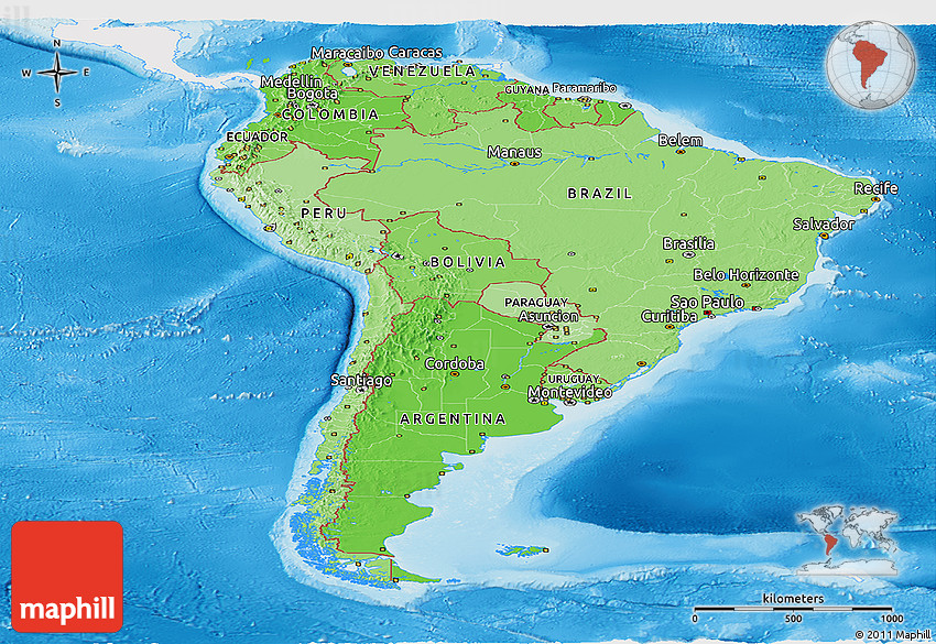 Political shades panoramic map of south america single for What color is south america