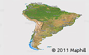 Satellite Panoramic Map of South America, cropped outside