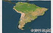 Satellite Panoramic Map of South America, darken