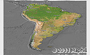 Satellite Panoramic Map of South America, desaturated