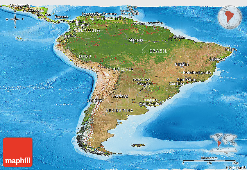 Satellite Panoramic Map of South America, physical outside on