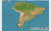 Satellite Panoramic Map of South America, political shades outside, satellite sea