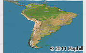 Satellite Panoramic Map of South America, semi-desaturated, land only