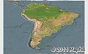 Satellite Panoramic Map of South America, semi-desaturated
