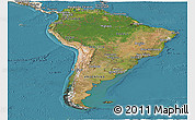 Satellite Panoramic Map of South America, shaded relief outside, satellite sea