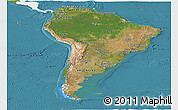 Satellite Panoramic Map of South America, single color outside