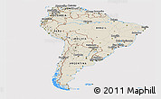 Shaded Relief Panoramic Map of South America, cropped outside