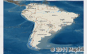 Shaded Relief Panoramic Map of South America, darken