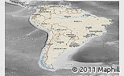 Shaded Relief Panoramic Map of South America, desaturated