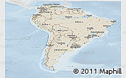 Shaded Relief Panoramic Map of South America, lighten