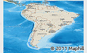 Shaded Relief Panoramic Map of South America, political shades outside, shaded relief sea