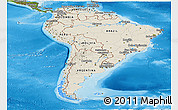 Shaded Relief Panoramic Map of South America, satellite outside, shaded relief sea