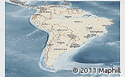 Shaded Relief Panoramic Map of South America, semi-desaturated