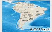 Shaded Relief Panoramic Map of South America, single color outside