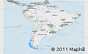 Silver Style Panoramic Map of South America
