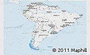 Silver Style Panoramic Map of South America, single color outside