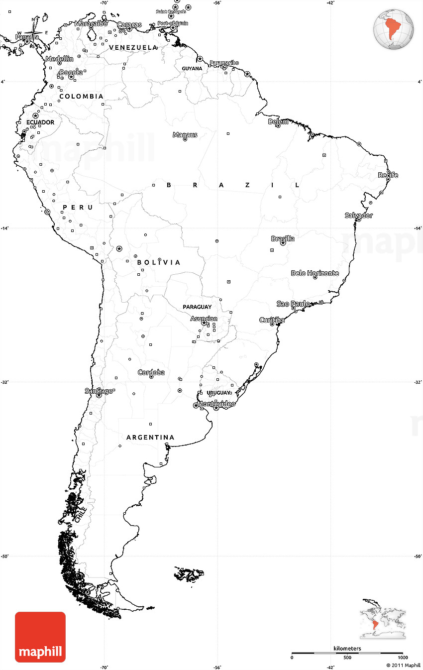 Picture of: Blank Simple Map Of South America