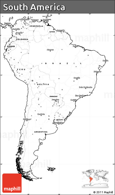 Free Blank Simple Map Of South America - South america blank map