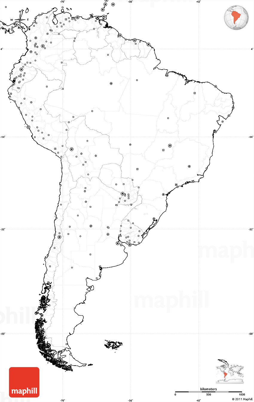 Blank Simple Map Of South America No Labels