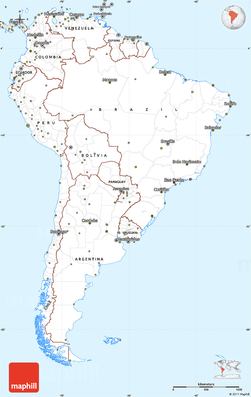 Classic Style Simple Map Of South America