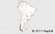 Classic Style Simple Map of South America, cropped outside