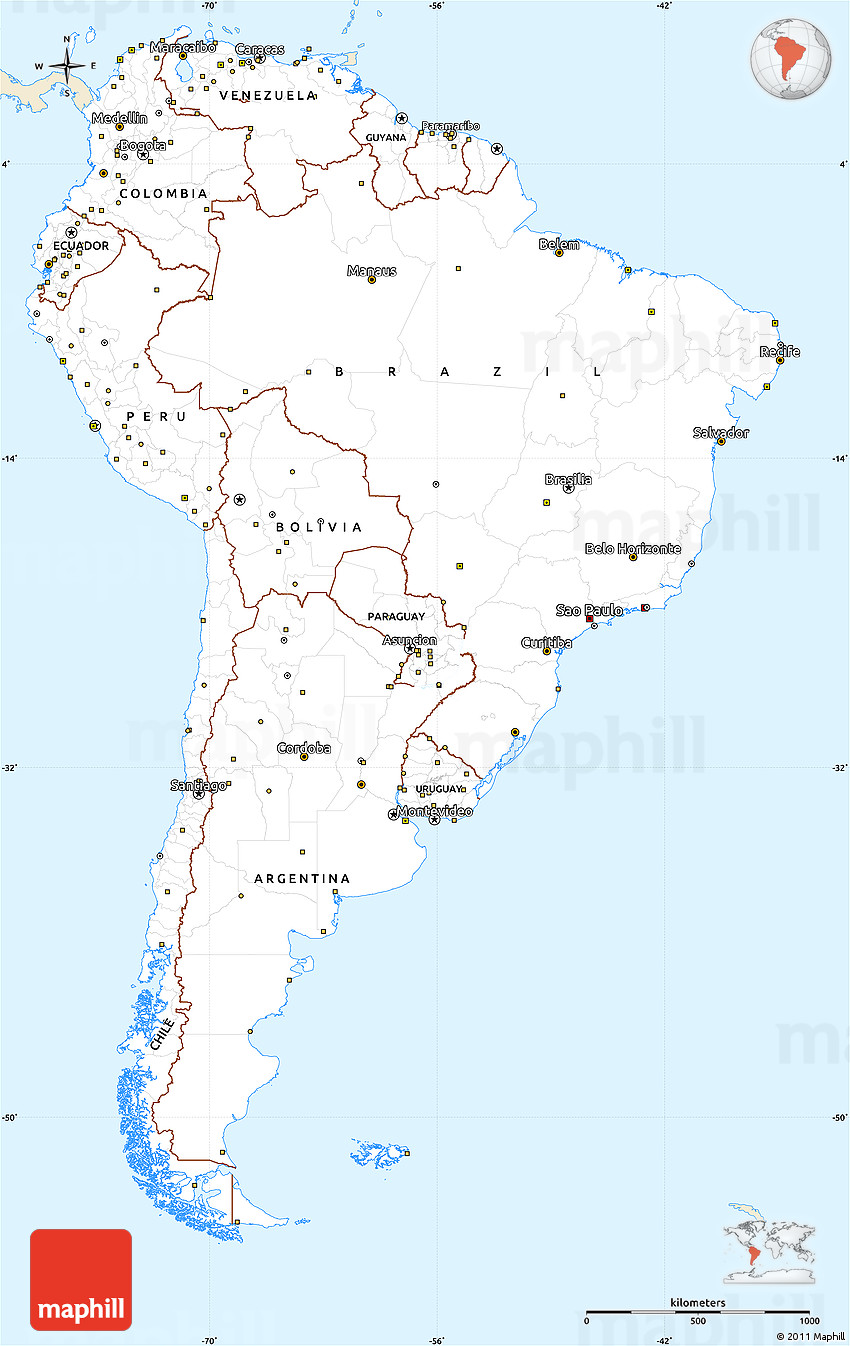 Classic style simple map of south america single color for What color is south america