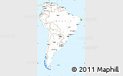 Classic Style Simple Map of South America, single color outside