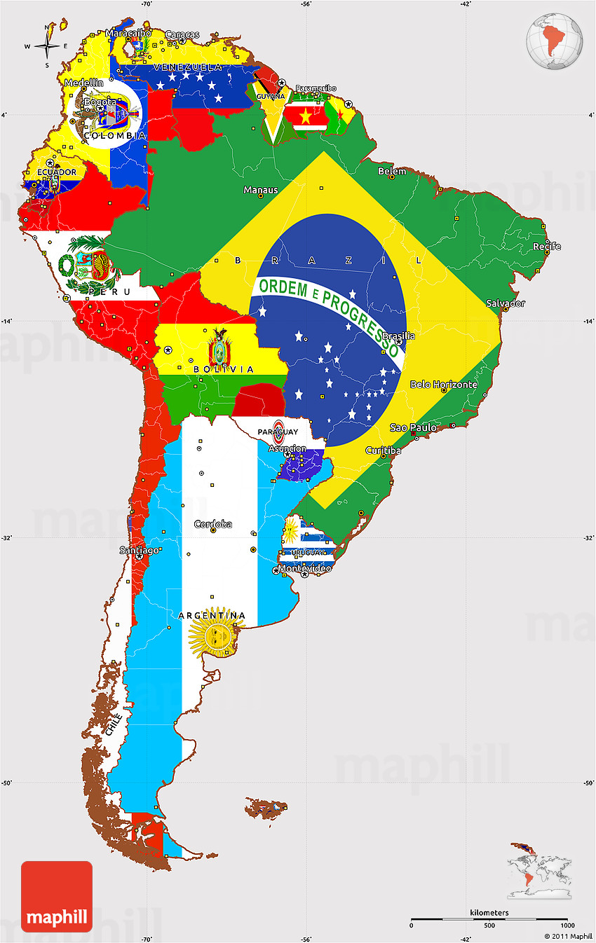 Flag Simple Map Of South America - Maps america