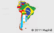 Flag Simple Map of South America