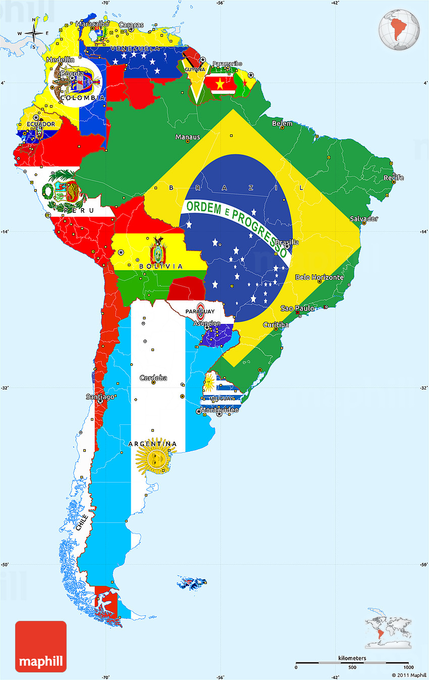 flag simple map of south america single color outside