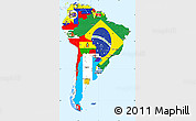 Flag Simple Map of South America, single color outside
