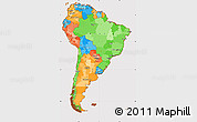 Political Simple Map of South America, cropped outside